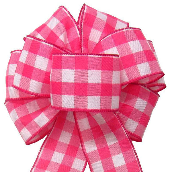 "Wired Buffalo Plaid Pink & White Linen Bows (2.5""ribbon~8""Wx16""L) - Alpine Holiday Bows"