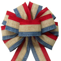 "Patriotic Wreath Bows - Wired Patriotic Linen Tri Stripe Natural Bow (2.5""ribbon~10""Wx20""L)"