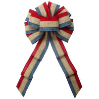 "Wired Patriotic Linen Tri Stripe Natural Bow (2.5""ribbon~10""Wx20""L) - Alpine Holiday Bows"