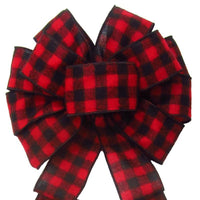 "Wired Buffalo Plaid Red & Black Flannel Bow (2.5""ribbon~10""Wx20""L) - Alpine Holiday Bows"