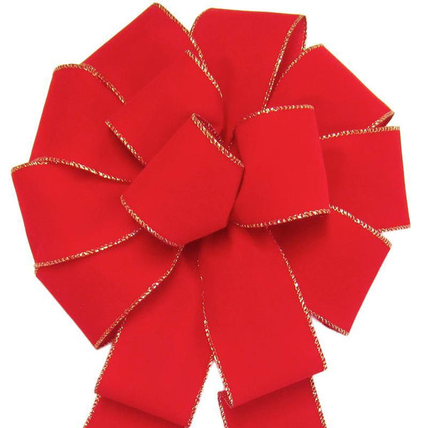 "Wired Indoor Outdoor Bright Red Velvet Bow (2.5""ribbon~10""Wx20""L) - Alpine Holiday Bows"