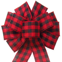 "Wired Buffalo Plaid Red & Black Linen Bows (2.5""ribbon~10""Wx20""L) - Alpine Holiday Bows"