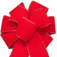 "Wired Indoor Outdoor Bright Red Velvet Bow (2.5""ribbon~8""Wx16""L) - Alpine Holiday Bows"
