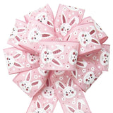 "Wired Pink Linen Easter Bunny Bow (2.5""ribbon~10""Wx20""L) - Alpine Holiday Bows"