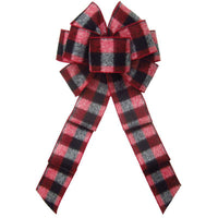 "Wired Log Cabin Buffalo Plaid Flannel Bow (2.5""ribbon~8""Wx16""L) - Alpine Holiday Bows"