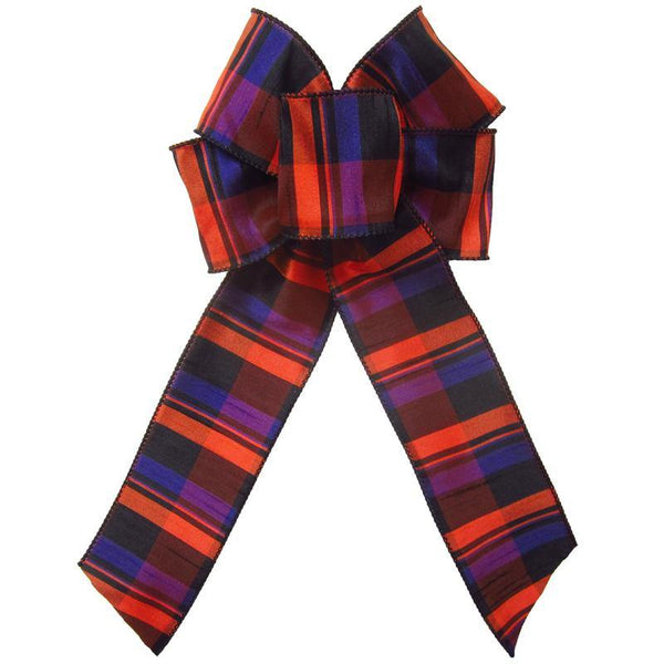 "Wired Bold Halloween Plaid Bow (2.5""ribbon~6""Wx10""L) - Alpine Holiday Bows"