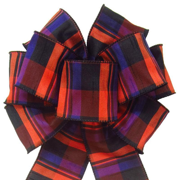 "Wired Bold Halloween Plaid Bow (2.5""ribbon~8""Wx16""L) - Alpine Holiday Bows"