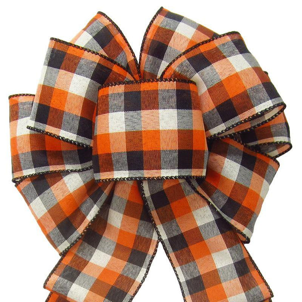 "Wired Buffalo Plaid Ivory Orange Black Linen Bows (2.5""ribbon~8""Wx16""L) - Alpine Holiday Bows"