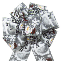 "Wired Buffalo Plaid Snowman Gray Bow (2.5""ribbon~8""Wx16""L) - Alpine Holiday Bows"