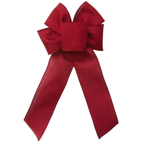 "Wired Burgundy Linen Bow (2.5""ribbon~6""Wx10""L) - Alpine Holiday Bows"