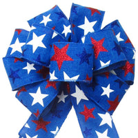"Wired Patriotic Stars Blue Bow (2.5""ribbon~10""Wx20""L) - Alpine Holiday Bows"
