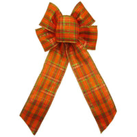 "Wired Pumpkin Plaid Bows (2.5""ribbon~6""Wx10""L) - Alpine Holiday Bows"