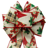"Wired Woodland Patchwork Plaid Bow (2.5""ribbon~8""Wx16""L) - Alpine Holiday Bows"
