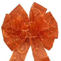 "Fall Wreath Bows - Wired Copper Sparkle Swirl Bow (2.5""ribbon~10""Wx20""L) - Alpine Holiday Bows"