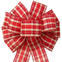 "Christmas Wreath Bows - Wired Fireside Plaid Bow (2.5""ribbon~10""Wx20""L)"