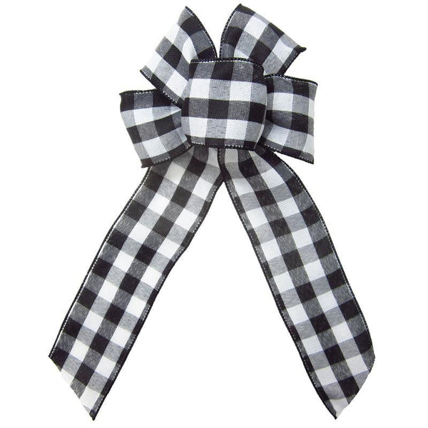 "Wired Buffalo Plaid Black & White Linen Bows (2.5""ribbon~6""Wx10""L) - Alpine Holiday Bows"