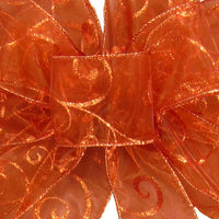 "Wired Sheer Copper Swirl Ribbon (#40-2.5""Wx50Yards) - Alpine Holiday Bows"