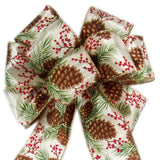 "Wired Pinecones & Berries Bow (2.5""ribbon~8""Wx16""L) - Alpine Holiday Bows"
