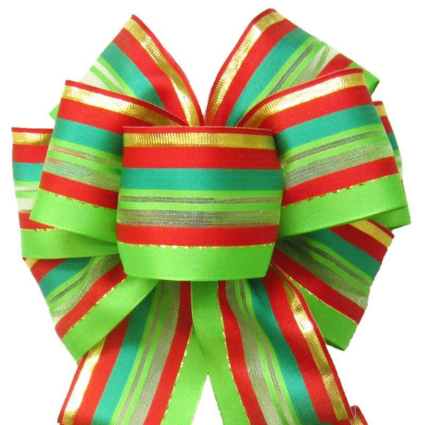 "Wired Festive Deco Green Holiday Bow (2.5""ribbon~8""Wx16""L) - Alpine Holiday Bows"