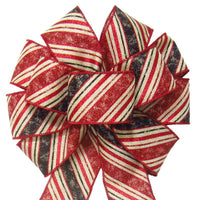 "Wired Rustic Red & Black Christmas Stripes Bow (2.5""ribbon~10""Wx20""L) - Alpine Holiday Bows"