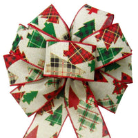 "Wired Woodland Patchwork Plaid Bow (2.5""ribbon~10""Wx20""L) - Alpine Holiday Bows"