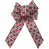 "Wired Gingham Valentine Bows (2.5""ribbon~6""Wx10""L) - Alpine Holiday Bows"