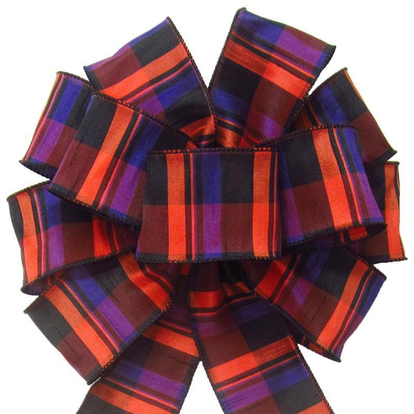 "Wired Bold Halloween Plaid Bow (2.5""ribbon~10""Wx20""L) - Alpine Holiday Bows"