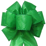 "Wired Gleaming Bright Green Bow (2.5""ribbon~8""Wx16""L) - Alpine Holiday Bows"