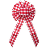 "Wired Buffalo Plaid Red & White Linen Bows (2.5""ribbon~10""Wx20""L) - Alpine Holiday Bows"