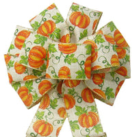 "Wired Fall Pumpkins Natural Linen Bow (2.5""ribbon~10""Wx20""L) - Alpine Holiday Bows"