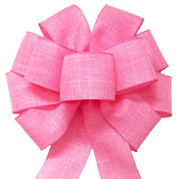 "Wired Light Pink Linen Bow (2.5""ribbon~10""Wx20""L) - Alpine Holiday Bows"
