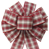 "Wired Peppermint Plaid Bow (2.5""ribbon~10""Wx20""L) - Alpine Holiday Bows"