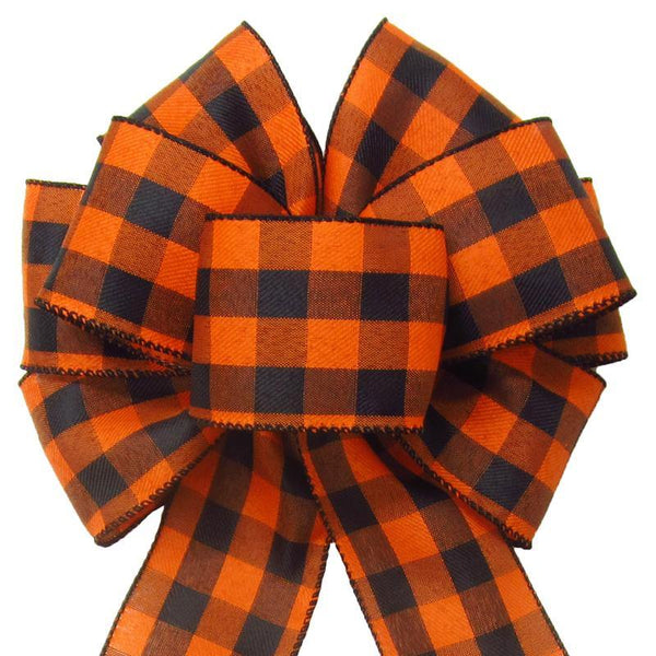 "Wired Buffalo Plaid Black & Orange Linen Bows (2.5""ribbon~8""Wx16""L) - Alpine Holiday Bows"