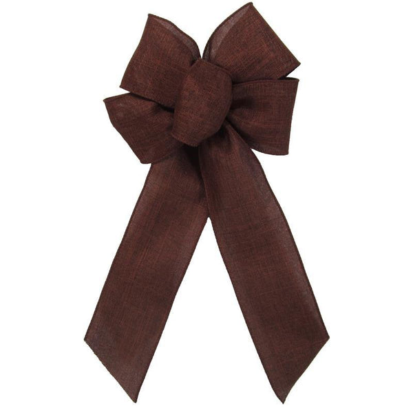 "Wired Brown Linen Bow (2.5""ribbon~6""Wx10""L) - Alpine Holiday Bows"
