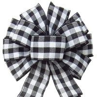"Wired Buffalo Plaid Black & White Linen Bows (2.5""ribbon~10""Wx20""L) - Alpine Holiday Bows"