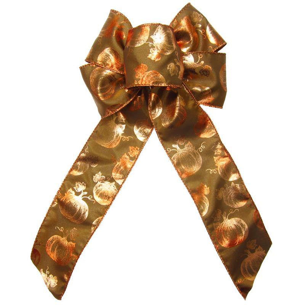 "Wired Bronzed Copper Pumpkins Bows (2.5""ribbon~6""Wx10""L) - Alpine Holiday Bows"
