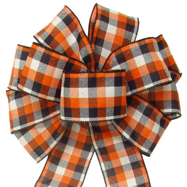 "Wired Buffalo Plaid Ivory Orange Black Linen Bows (2.5""ribbon~10""Wx20""L) - Alpine Holiday Bows"