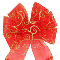 "Christmas Wreath Bows - Wired Red & Gold Sparkle Swirl Bow (2.5""ribbon~8""Wx16""L)"