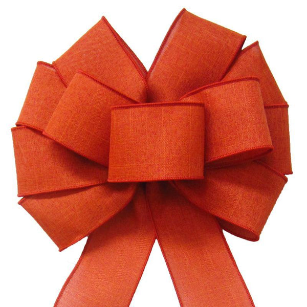 "Wired Burnt Orange Linen Bow (2.5""ribbon~10""Wx20""L) - Alpine Holiday Bows"