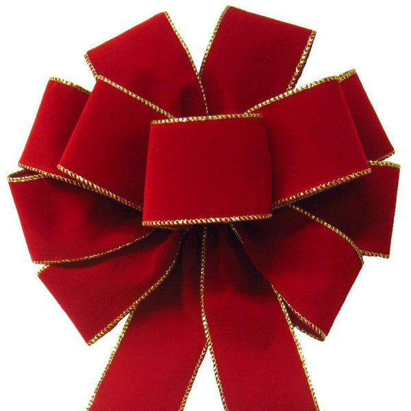 "Wired Indoor Outdoor Berry Red Velvet Bow (2.5""ribbon~10""Wx20""L) - Alpine Holiday Bows"