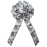 "Wired Buffalo Plaid Snowman Gray Bow (2.5""ribbon~10""Wx20""L) - Alpine Holiday Bows"
