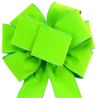"Wired Indoor Outdoor Lime Green Velvet Bow (2.5""ribbon~8""Wx16""L) - Alpine Holiday Bows"