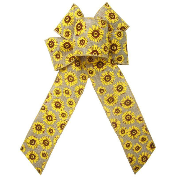 "Wired Natural Linen Sunflowers Bows (2.5""ribbon~6""Wx10""L) - Alpine Holiday Bows"