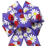 "Wired Ladybugs & Daisies Purple Spring Bow (2.5""ribbon~8""Wx16""L) - Alpine Holiday Bows"