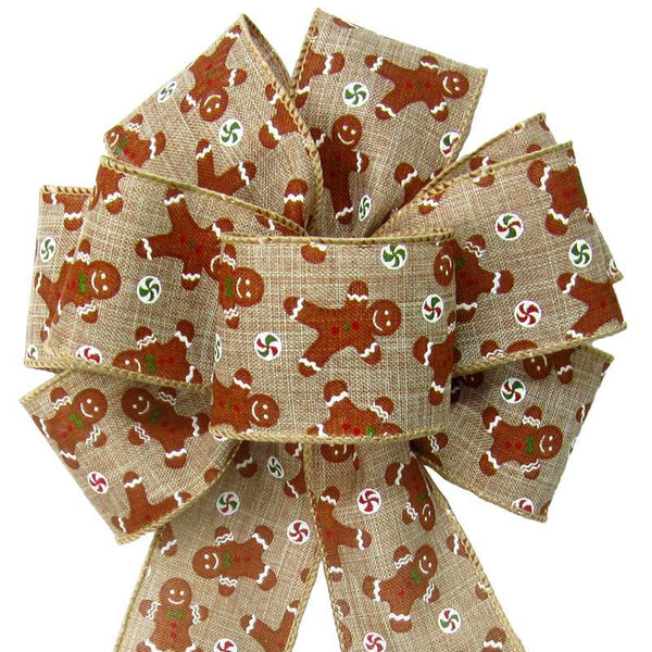"Wired Gingerbread Cookies Bow (2.5""ribbon~8""Wx16""L) - Alpine Holiday Bows"