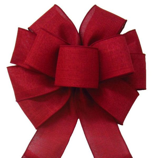 "Wired Burgundy Linen Bow (2.5""ribbon~10""Wx20""L) - Alpine Holiday Bows"