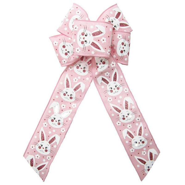 "Wired Pink Linen Easter Bunny Bow (2.5""ribbon~6""Wx10""L) - Alpine Holiday Bows"
