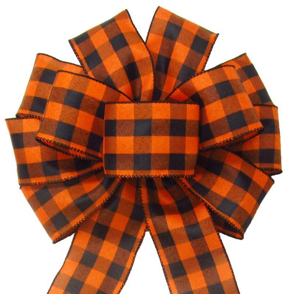 "Wired Buffalo Plaid Black & Orange Linen Bows (2.5""ribbon~10""Wx20""L) - Alpine Holiday Bows"