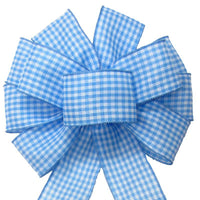 "Gingham Check Light Blue & White Bow (2.5""ribbon~10""Wx20""L) - Alpine Holiday Bows"