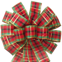 "Wired Holiday Plaid Bow (2.5""ribbon~14""Wx24""L) - Alpine Holiday Bows"